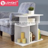 Living room wood sofa side table Mdf home furniture bookcase book display multifunction wood corner bookshelf