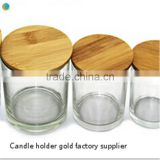 pine material Seal ring wood lid candle jar clear candle glass