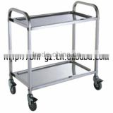 Guangzhou hotel restaurant supply square tube two tier movable stainless steel trolley cart trolley manufacturers C263