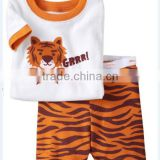 fashion new children's 2pcs short sleeve tiger printed pajamas suits kids summer suits