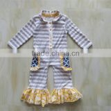 2015 baby spring fall clothing Boutique baby long sleeves romper children gold stamping ruffles stripe romper kid clothes