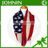 2017 Hot selling Jacquard Acrylic American Flag Infinity Scarf