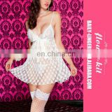 2017 Latest Fashion Sleepwear Mesh Polka Dot Babydoll With Satin Bow