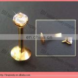 Shiny gold lip ring titanium body piercing jewelry with shiny crystal