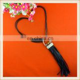Spring Season PU Tassel pendant necklace/decorative necklace /custom black neck leather tassel for garment accessories