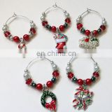 Fashionable wholesale metal colorful enamel christmas wine charms for holiday