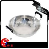 Luxury chinese style kitchen appliances induction stainless steel wok pan with both handles