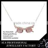 Lovely glasses 18K/22K/24K gold plated necklace, fashion jewelry wholesale rose pendant necklace in China