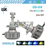 NO fan design G6 LED headlight 6000lm hi/lo beam motor h4 28w led headlamp kit with two years warranty