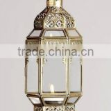 Candle Lantern with Clear Glass Brass Antique Finish Best Selling Home Decorative Moroccan Lantern.