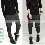 Men's Black Fashion Casual Jogger Sportwear Baggy Harem Pants Slacks Trousers