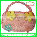 Ladies handbag design new style popular selling chiffon decoration flower