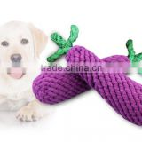 Pet supplies manufacturers selling hand braided eggplant shape knotting rope toys Dog clean teeth pet cotton knot toy