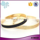 Korean jewelry simple style frosted zinc alloy gold covering bangle bracelet                                                                                                         Supplier's Choice