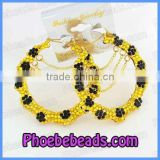 Wholesale Gold & Black Flower Rhinestone Bamboo Hoop Earrings ABE002-1