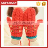V-407 cute winter handmade knit cable pattern women mitten gloves with button knit hand warmer mitten knit handmade arm warmer