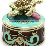 metal alloy turtle trinket jewelry box with magnet closure,good quality and various designs,pass SGS factory audit