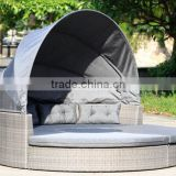 Round garden lounge set PE wicker poolside double sun lounger                                                                                                         Supplier's Choice