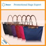 Simple and Clean Dumpling-shape ladies foldable polyester shopping hand bags women                                                                                                         Supplier's Choice