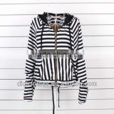Personality streaks lady hoodie sweater, newest design black and white stripe hoody for lady