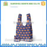 Printed promotional fashionable shopping tote nylon folding bag with pouch