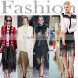 Women's Fashion Sexy Black Lace Fringes Hip Package Badycon Skirt