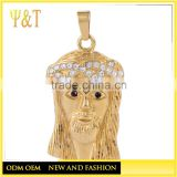 Fashion 316 stainless steel religious jewelry 18K gold plated jesus pendants, jesus head pendants