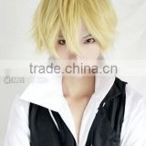 2015 new cheap synthetic cosplay wigs for men blonde short hair wigs wholesale