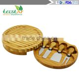 Eco-friendly natural bamboo cheese board set 4 cheese knives with cutting board set bamboo & wood items bamboo kitchenwares wood