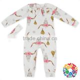 Cheap Wholesale Long Sleeve Cotton/ Polyester Baby Girls Romper Set Animal Dattern Design Wholesale Onesie Baby Romper Jumpsuit
