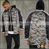 Ecoach high quality long sleeve 100%polyester plain blank Camo Paneled wholesale longline bomber jacket for men