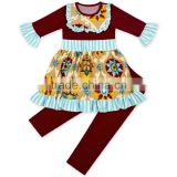 New Arrived 2pcs Children Clothing Set Stitching Printed Of Wood Ear Solid Color Leggings Cross Stitch Matching Girl Suit