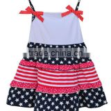 New Style 4th of July Baby Cotton Girls Dress Blue Star Red & White Stripe One Piece Dress