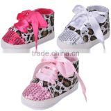 new design leopard sequins print baby girl shoes