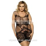 Plus size nylon bodystocking for fat lady