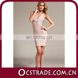 2014 v neck short sleeveless beige cool cocktail dress bandage