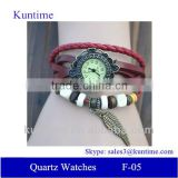 new products 2014 Quartz watch F-05 for girls with Wing pendant,leather strap, bronzed watch case