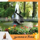 Metal water fountain fish sculpture for public decoration