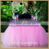 TC091C customize size fancy light pink puffy weeding tulle table skirting for sale                                                                                                         Supplier's Choice