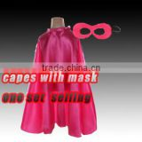 Wholesale single layersateen children capes with mask,blank colors baby girl cloaks masks kids costume capes,spideman capes mask