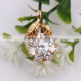 Fashion Europe and America Jewelry Christmas Gift Charm Gold Leaf Flower CZ Necklace Pendant