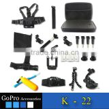 New 21 in 1 Family Kit Go Pro Accessories Set GoPros Accessories Pack for GoPros Heros 4 3+ 3 sjcam SJ4000