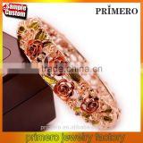 Rhinestone Embed Hollow Leaves Blessing Flowers Rose Golden Bracelets Bangles Women
