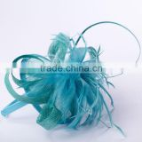 fashion girl sinamay party hairbands with feather decoration in blue and other colors for wedding party