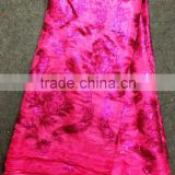 Fuchsia pink silk raw material Korea silk lace for garment cheap African wedding lace fabric