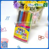 China Manufacturers wholesale 6 colors twist crayons in pvc bag customized Logo printed crayons