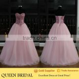 Real Works Customized Pink Crystal Ball Gown Arabic Evening Dress Turkey