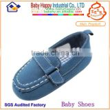 Dark blue boat Italian style suede leather baby shoes