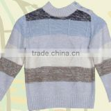 children's round neck long sleeve jacquard weave striped knit pullover sweater with button