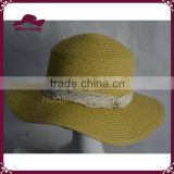 100% paper ladies summer hat straw boater hat with lace                                                                         Quality Choice